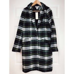 Rachel Zoe Plaid Green Blue White Wool Long Coat M